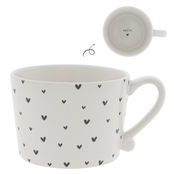 "Bastion Collections Tasse schwarz ""hearts"" gross"